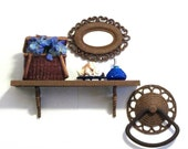 Basket Weave Wall Shelf Mirror and Towel Ring Holder Homco Faux Rattan Wicker Natural Cottage Beach Decor