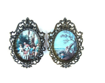 Ornate Italian Bronze Framed Mirrors and Prints Pair Hanging Pieces Made in Italy