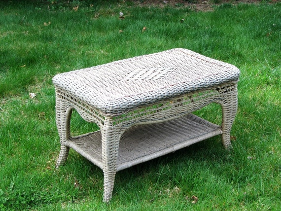 Items Similar To Woven Wicker Coffee Table Two Tier Indoor Outdoor Rattan And Wood End Side