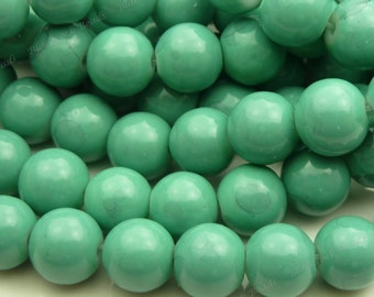 8mm Persian Green Round Glass Beads - Smooth, Shiny Beads - 25pcs - BN10