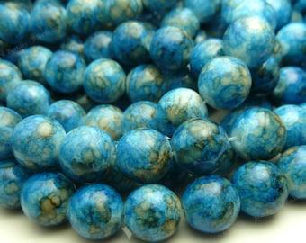 Denim Blue Round Glass Beads - 10mm Smooth Mottled Beads, Bohemian Beads - 20pcs - BN13