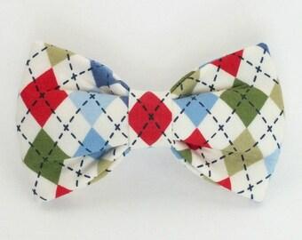 Argyle dog bow tie, cat bow tie