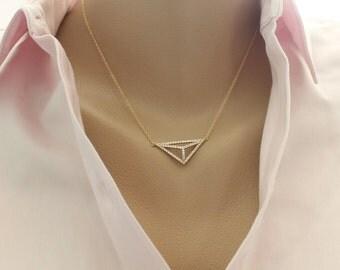Pave Triangle Necklace, 3D Triangle Silver Necklace, Minimal jewelry,  Gold Vermeil Triangle CZ Pyramid Necklace, Geometric Jewelry