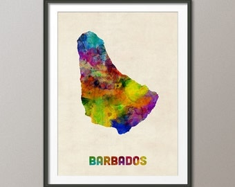 Barbados Watercolor Map, Art Print (2296)