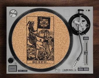 Turntable Slipmat - Death Tarot Card engraved Cork turntable slipmat with Reversable fabric Back