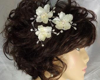 Wedding Hair Flowers, Mini Hair Flowers, Ivory Hair Pins, Set of 3, REX16-614, Wedding Accessories