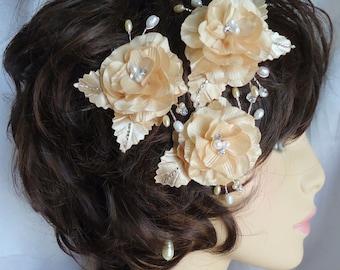 Wedding Hair Flowers, Rose Hair Pins, Set of 3, Champagne Roses, Mini Hair Roses, Charmeuse Hair Pins, Wedding Accessories, REX16-371