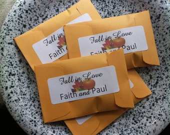 Rustic Mini Wedding Favors Seed Packets Personalized with Your Text Inspirational Fall In Love Autumn Wedding Sachets Bulk Party Favors