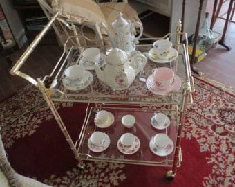 Vintage Faux Bamboo and Glass Tea/Bar Cart-Local Pick Up or Your Shipper