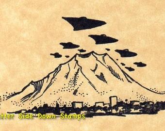 UFO Invasion Alien Attack Rubber Stamp Mt. Rainier Seattle Flying Saucer