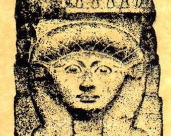 Egyptian Goddess Hathor Column Rubber Stamp
