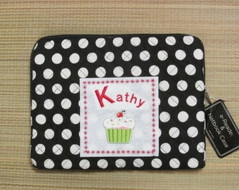 Netbook/e-Reader/iPad/Kindle Case Embroidered Design w/Name-Quilted Polka Dot Fabric w/Cupcake Design