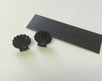 Black mermaid seashell earrings