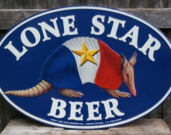 Limited Edition Lone Star Beer Sign with Armadillo 1 of 1000