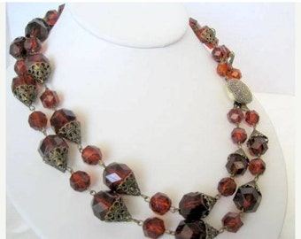 Topaz Lucite Necklace - Root Beer 2 strands - Beads