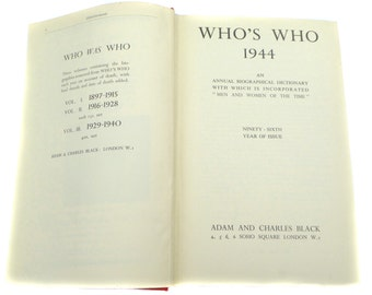 Who's Who 1944 Adam & Charles Black Hardback Book Vintage Book Antique Book Antiquarian Library Book Debretts The Peerage Winston Chruchill