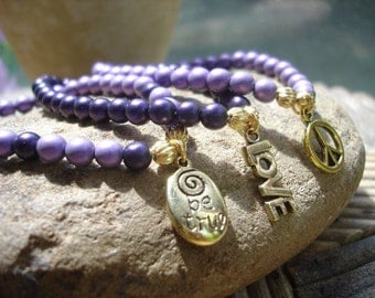 Purple Satin Modern Boho Stackable Stretch Bracelets, Set of 3, Inspirational Jewelry
