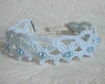 Pale blue crochet choker with pearls. Crochet necklace.