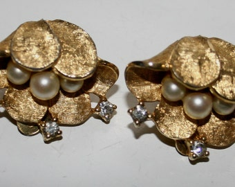 Jomaz Earrings Haute Couture Exquisite Brushed Gold Floral Design Runway Fashion High End Vintage