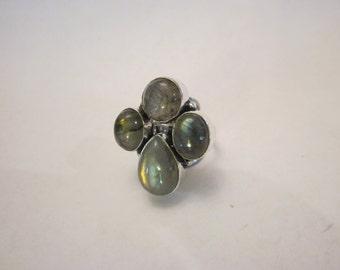 Sterling Silver Labradorite Ring Free Shipping Size 8