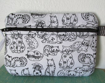 Black & White Kitty Fabric Cosmetic Case/Change Purse