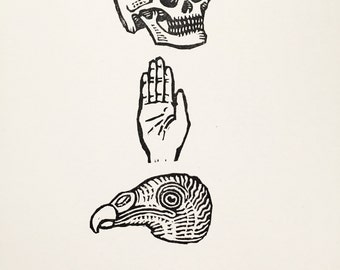 Skull, palm, turkey vulture - Rubber stamps on paper - Kathleen Neeley