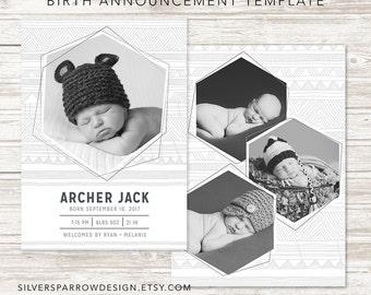 Modern Baby Announcement, Geometric Photo Announcement, Birth Announcement Boy, Girl, Custom Digital File, Tribal Design