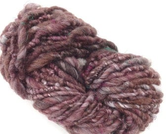 Hand Spun Super Bulky Art Yarn, Brown Blue Faced Leicester
