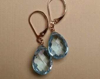 December Birthstone Earrings, Swiss Blue Topaz Earrings, Healing Gemstone Jewelry, Faceted Blue Topaz Earrings