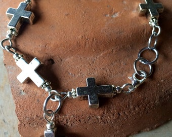 tibetan silver cross bracelet, handmade with metal cross beads