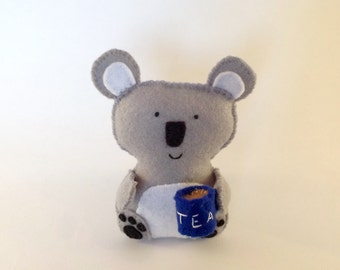 Koala-Tea! Fun, cute felt toy gift decoration - Australia