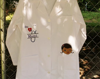 Doc McStuffins Woman's Lab Coat - Personalized Embroidered Labcoat Dress up for Women