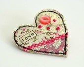 Heart BROOCH  Heart pin Heart badge Pink heart Heart shaped brooch textile heart brooch fabric heart pin love heart Valentine brooch