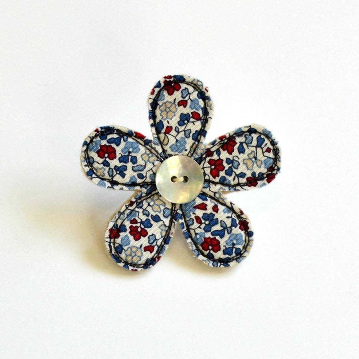 Blue and cream fabric flower BROOCH Flower badge Flower pin