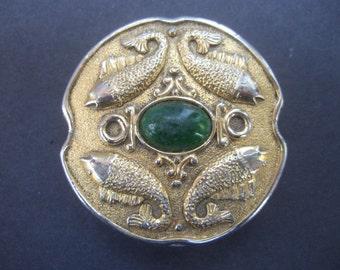 Ornate Gilt Metal Pisces Fish Design Compact c 1970s