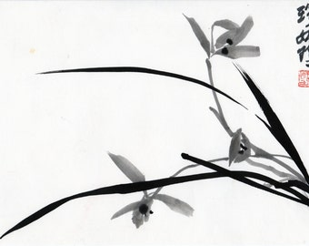 Chinese brush and ink painting of an orchid