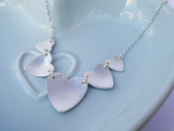 Heart Bunting Necklace - Sterling Silver