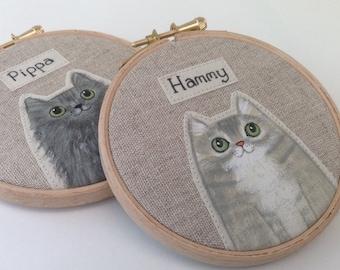 "Personalised pet cat portrait - 4"" custom cat portrait  - made to order - Cute cat portait - pet memorial - cat lover gift - custom pet"