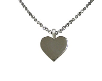 Silver Toned Heart Love Pendant Necklace