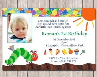 Hungry Caterpillar Photo Personalised Birthday Invitation - YOU PRINT