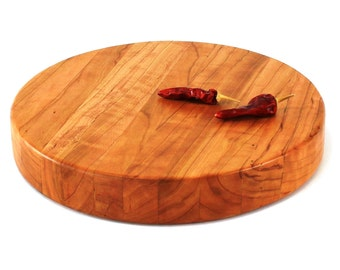 """Round Butcher Block Cutting Board - Thick Chopping Board - Wild Cherry Wood - 10""""x1-1/2"""" - Ready to Ship"""