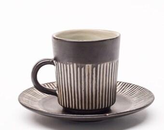 BR Denmark, Vintage Danish Stoneware, Amazonas Cup & Saucer Duo(s)