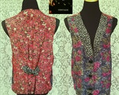 90s Boho Floral Patchwork Vest - Sheer Rayon - Adjustable Back Tie - Large Beveled Black Buttons - Calico Roses Vest - Womens Large XL
