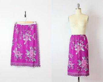 vintage EMILIO PUCCI slip / 1960s designer slip skirt / graphic print half slip / purple grey floral slip / summer slip skirt