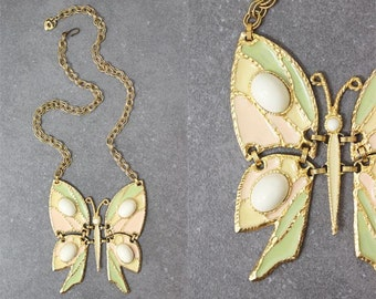 vintage 70s JULIANA D & E butterfly necklace / 1970s large statement necklace / articulated animal necklace / rare designer book necklace