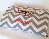 Personalized Gray Chevron 9x13 Casserole Carrier with FREE Recipe, Free Shipping - Gray and Ivory Chevron ZigZag Stripe, Grey, Silver