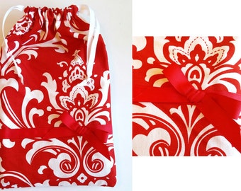 Embellished Red Gift Bag, Elegant print drawstring bag for gift giving - American Made