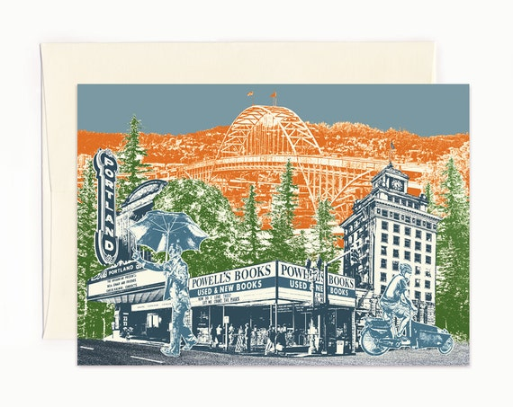 Touring Downtown Notecard - Portland, Oregon - full color - folded Greeting Card