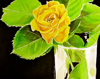Yellow Rose Print - Yellow Rose in Glass Vase Watercolor Painting Art Print, Wall Decor, Home Decor