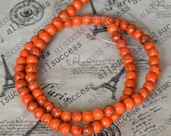 15inch 6mm Single Orange round tuquoise beads,gemstone cham,turquoise charm,turquoise stone loose strand
